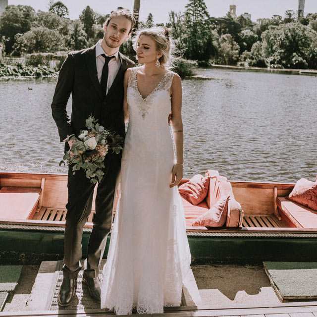Melbourne boho wedding at Royal Botanical Gardens with punting on the lake