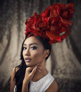 Melbourne bridal hair and makeup with red rose big headpiece