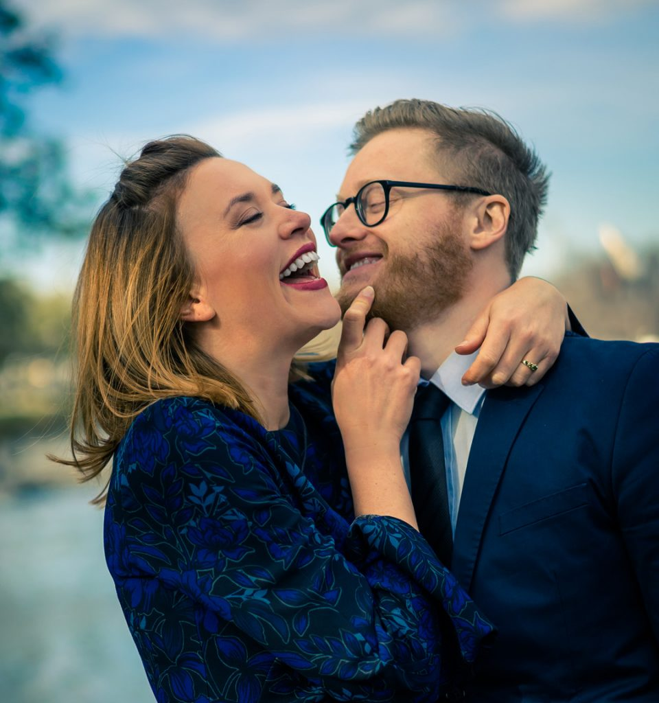 Black Avenue Productions captured happy couple laughing by the Melbourne Yarra River 2018