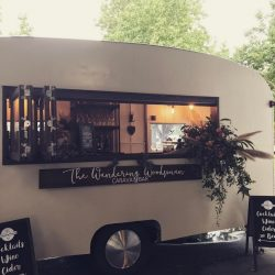 cute little vintage caravan mobile wedding bar