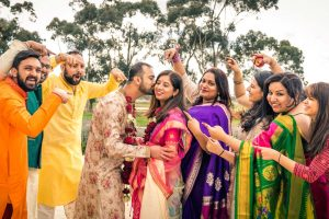 Indian wedding bridal party photo