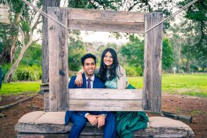 cute couple happily smile for their wedding photos in Baxter Barn by Melbourne wedding photographers
