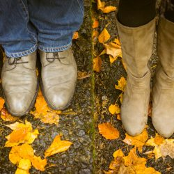 boyfriend and girlfriend shoes and autumn leaves in Melbourne Australia