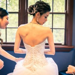 bride turning her back pose for getting ready photo in Marybrooke Manor Melbourne Australia