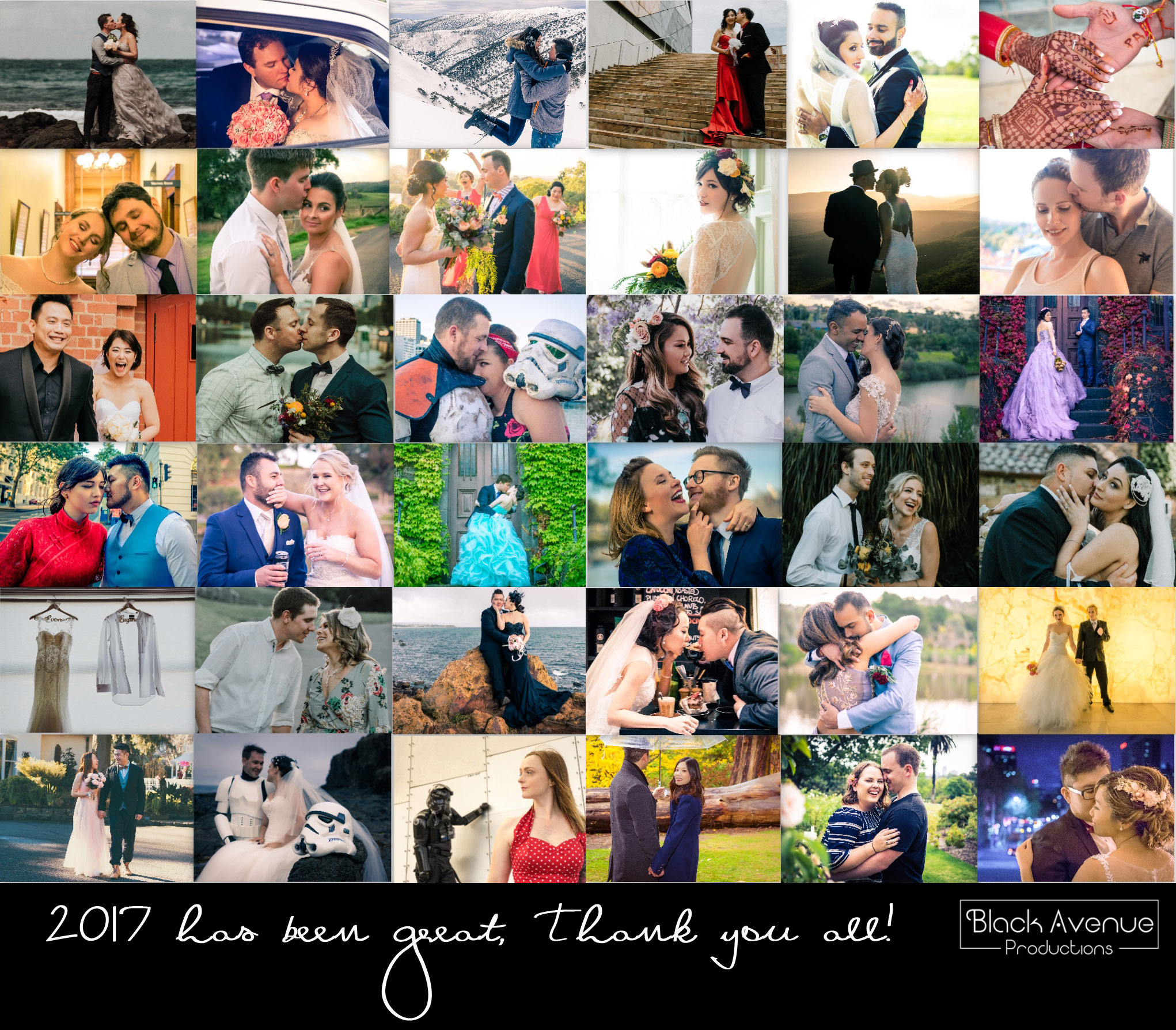 Black Avenue Productions collage image of 41 wedding shoots in 2017