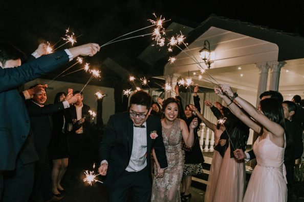 newly wedded bride groom grand exit Bramleigh wedding reception with sparkle fireworks