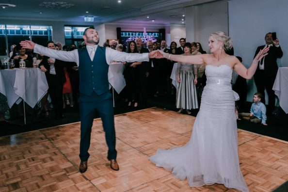 newly wedded bride groom first dance at Yarra Valley wedding reception dance floor