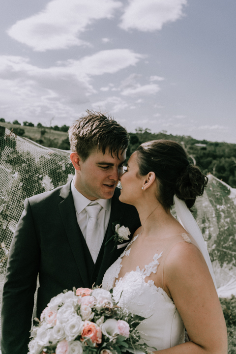 beautiful wedding photo at a winery Mornington Peninsula
