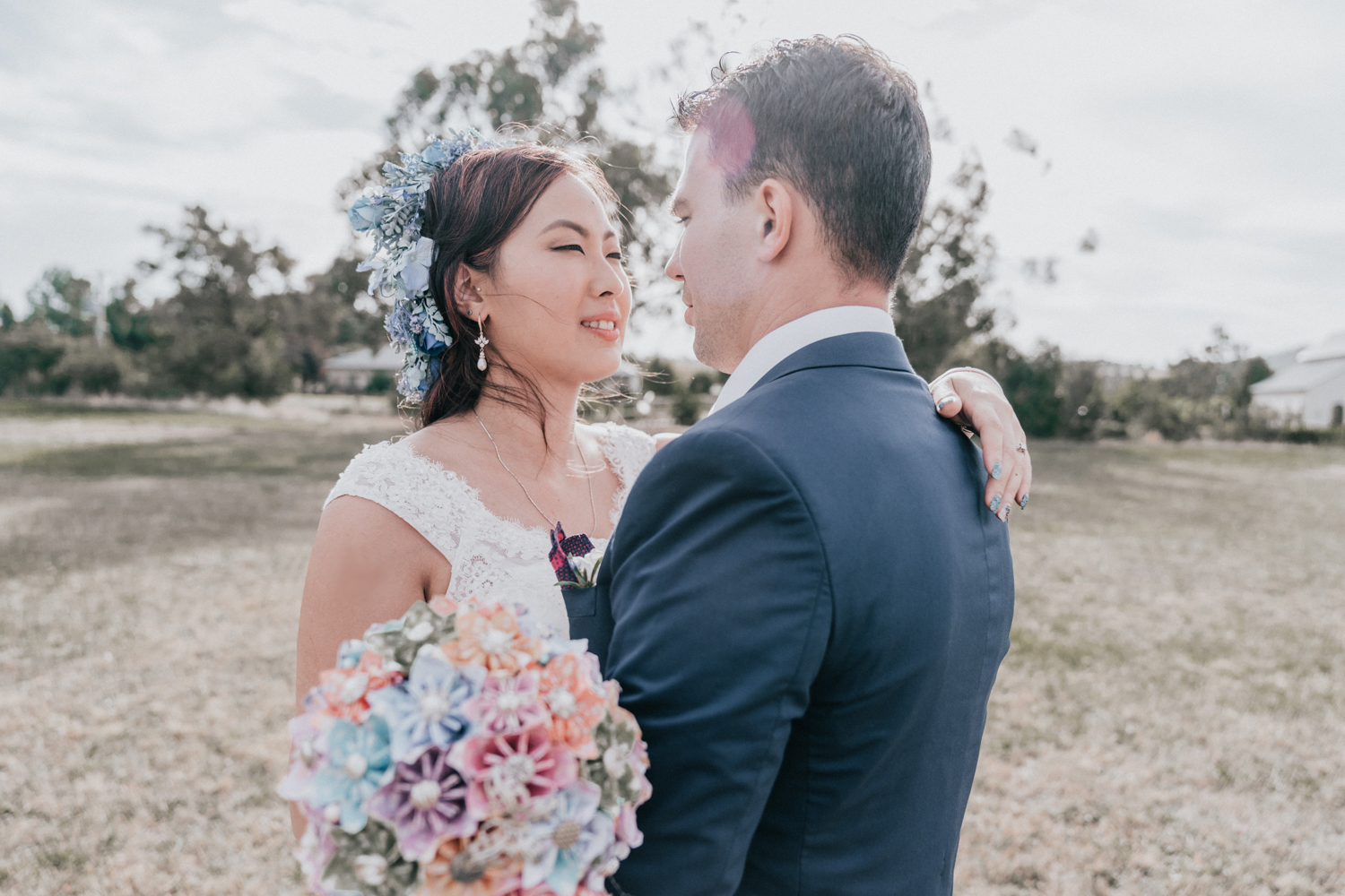 Stunning wedding photo of Melbourne bride groom look at each other at picturesque winery wedding venue Immerse Yarra Valley