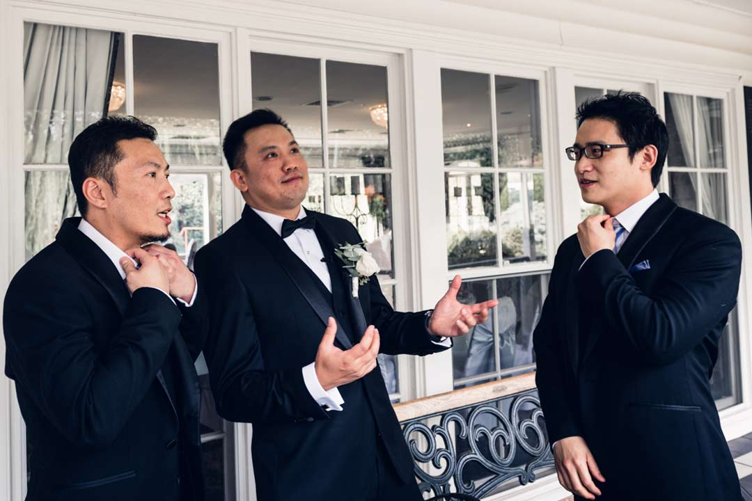groom and groomsmen getting ready for their Ballara receptions wedding ceremony in 2018 by Black Avenue Productions