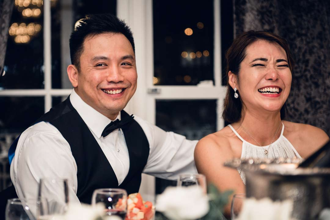 bride and groom feel emotional during wedding speech