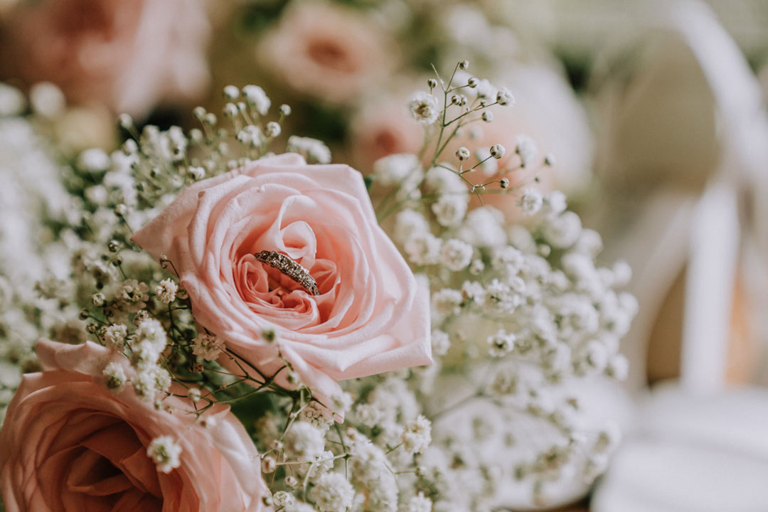 pretty fresh bridal flower and engagement ring captured by Melbourne wedding photographers Black Avenue Productions Derek Chan