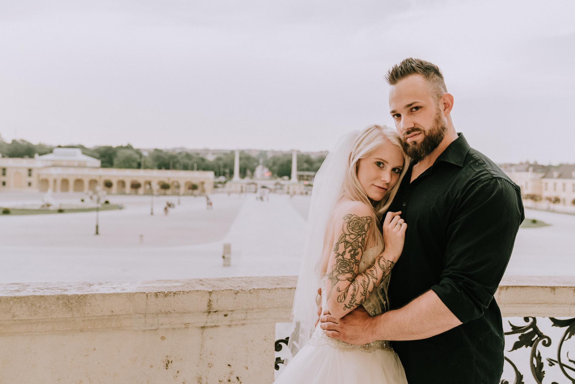 Vienna couple posing for wedding photo shoot by destination wedding photographer Black Avenue Productions