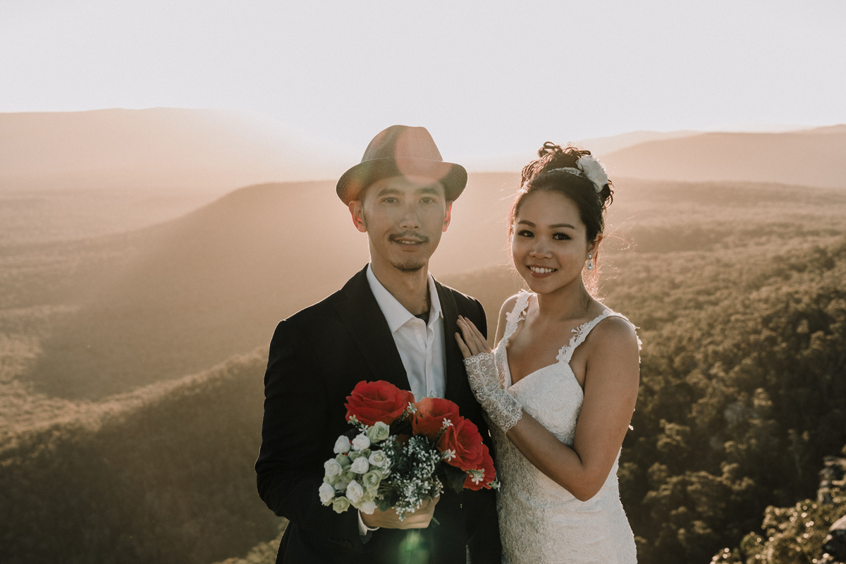 beautiful wedding photo at The Grampians National Park in Victoria Australia in sunset by award winning wedding photographer Black Avenue Productions