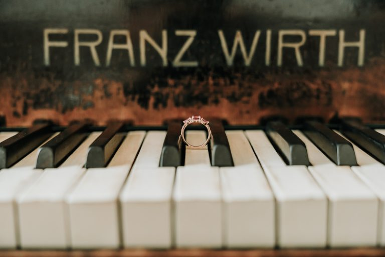 engagement ring on piano
