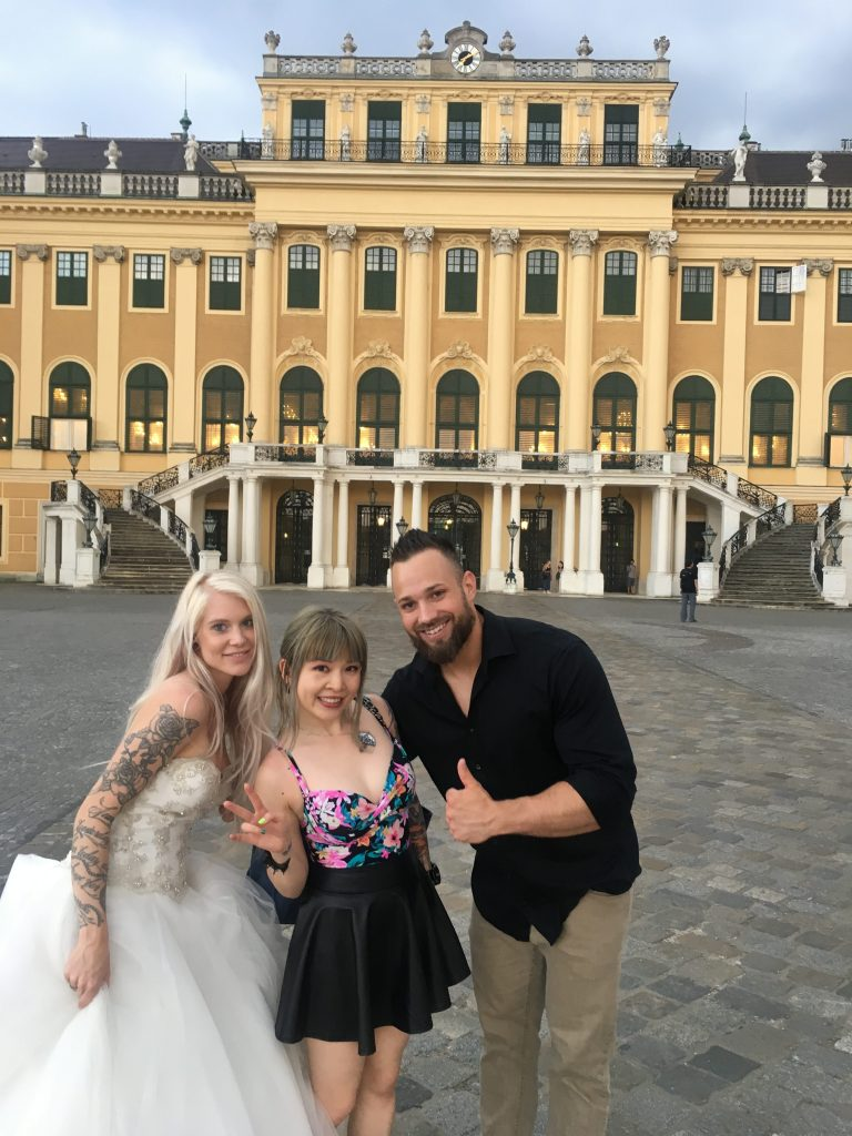 Melbourne wedding photographer Lowina Blackman from Black Avenue Productions took selfie with bride and groom after their Vienna wedding photos shoot tour