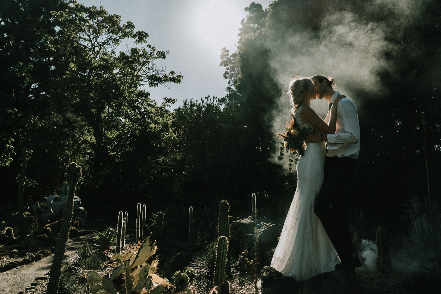 Pre wedding kissing in the forest in the smoke sunset sunrise