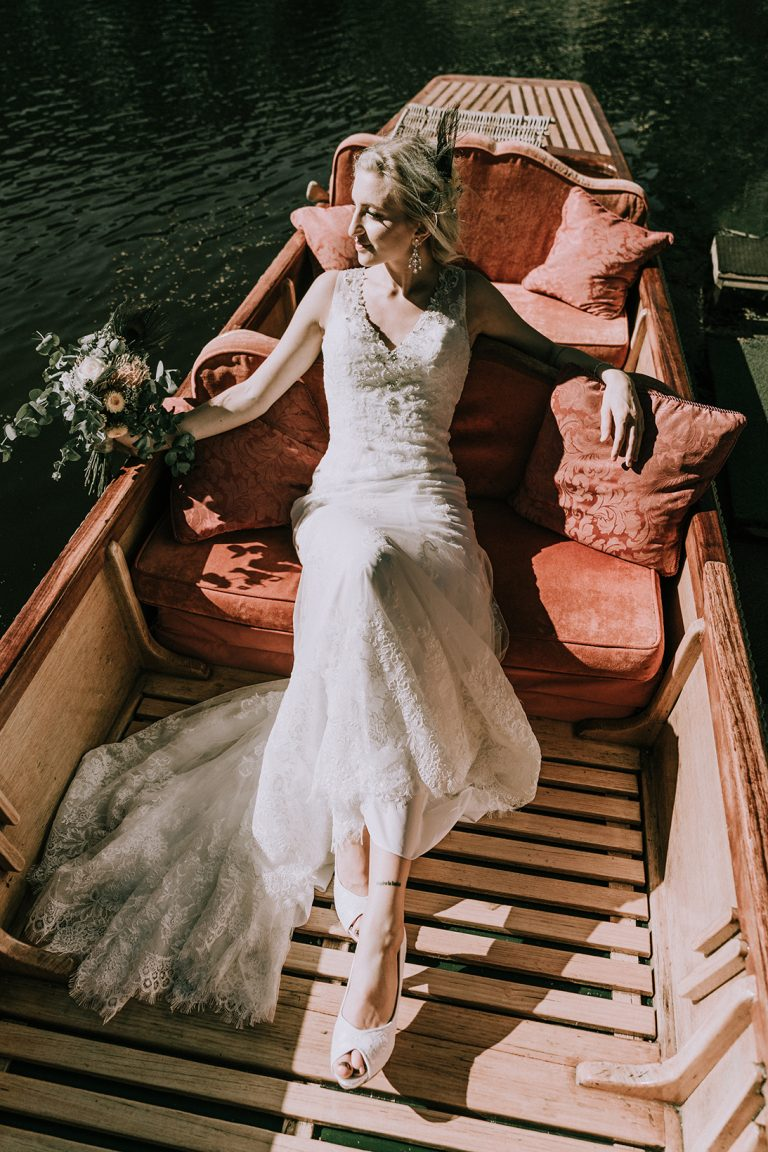beautiful bride sit on a boat relaxing romantic magnificent pre wedding