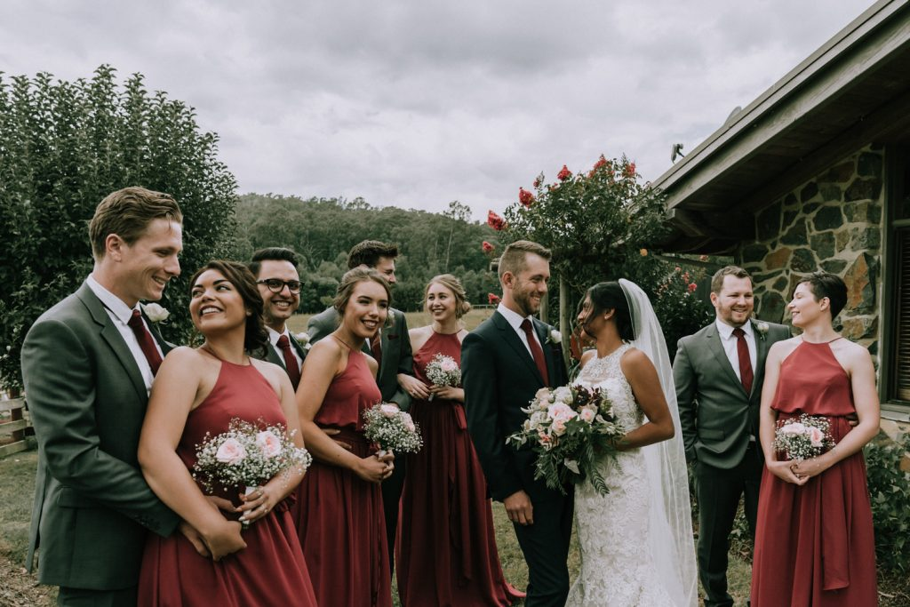 Bridal party photos idea by Black Avenue Productions in rustic wedding in Melbourne