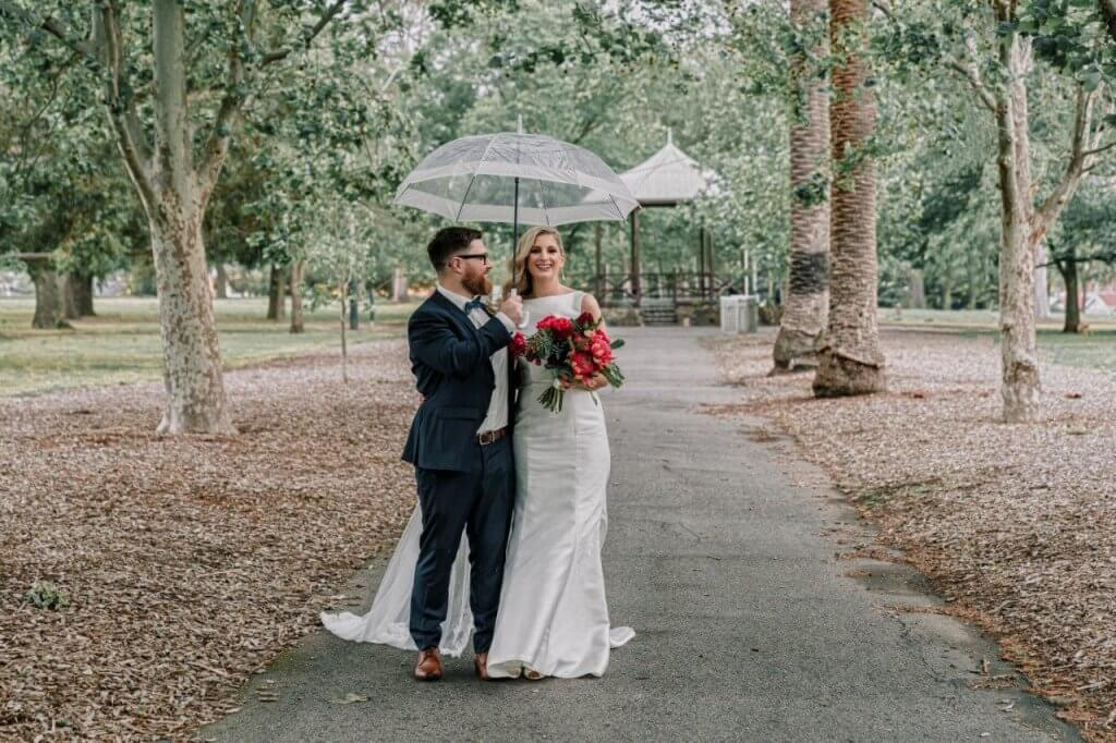 Rainy day at Royal Melbourne Yacht Squadron wedding with Melbourne couple Kat and Stu