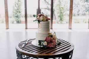 Modern wedding cake at Stones of Yarra Valley wedding reception table