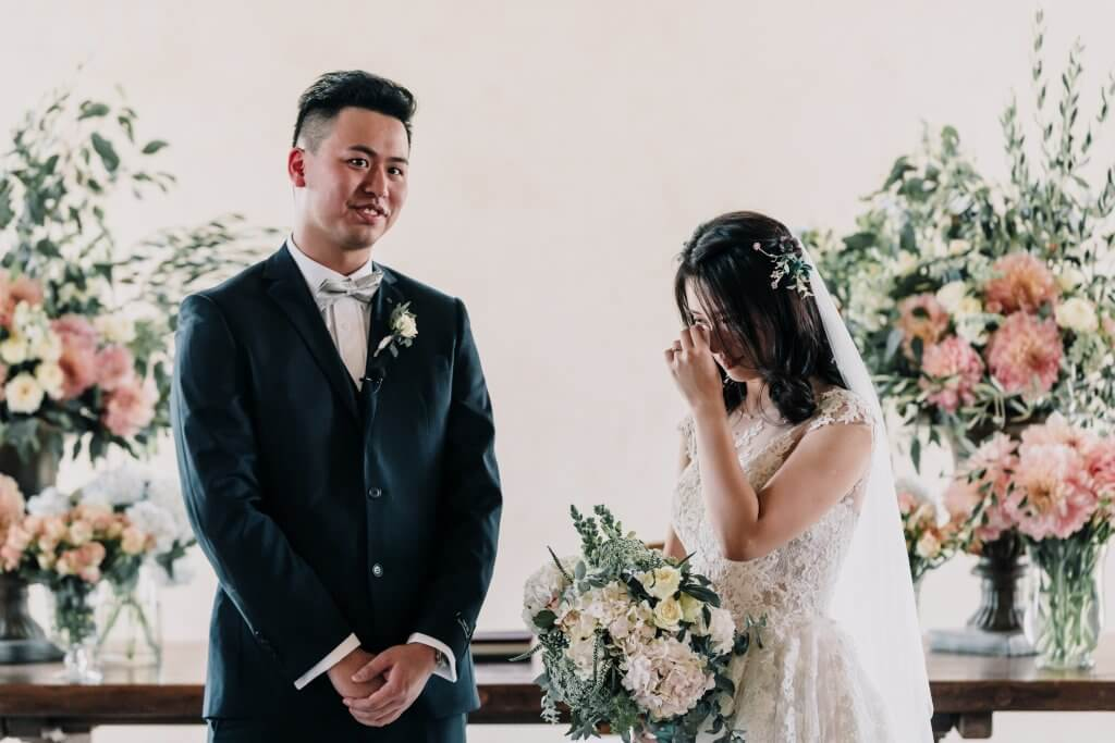 bride and groom crying at their Stones of Yarra Valley wedding ceremony chapel