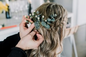 Brighton beach wedding bridal hair look