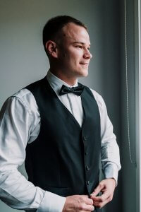Melbourne groom Rhys McDonald get ready for his wedding at Manor On High, profile picture taken by award winning wedding photographers Black Avenue Productions