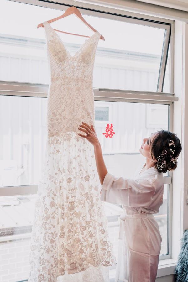 Bride with her wedding dress for her summer wedding in melbourne