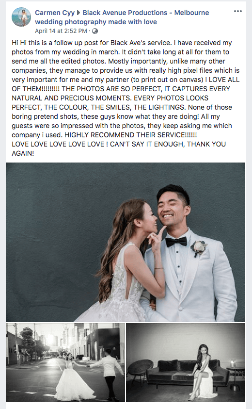 Melbourne dentist married couple Carmen left a heartfelt 5 star review on award winning wedding photographers Black Avenue Productions screen shot testimonial