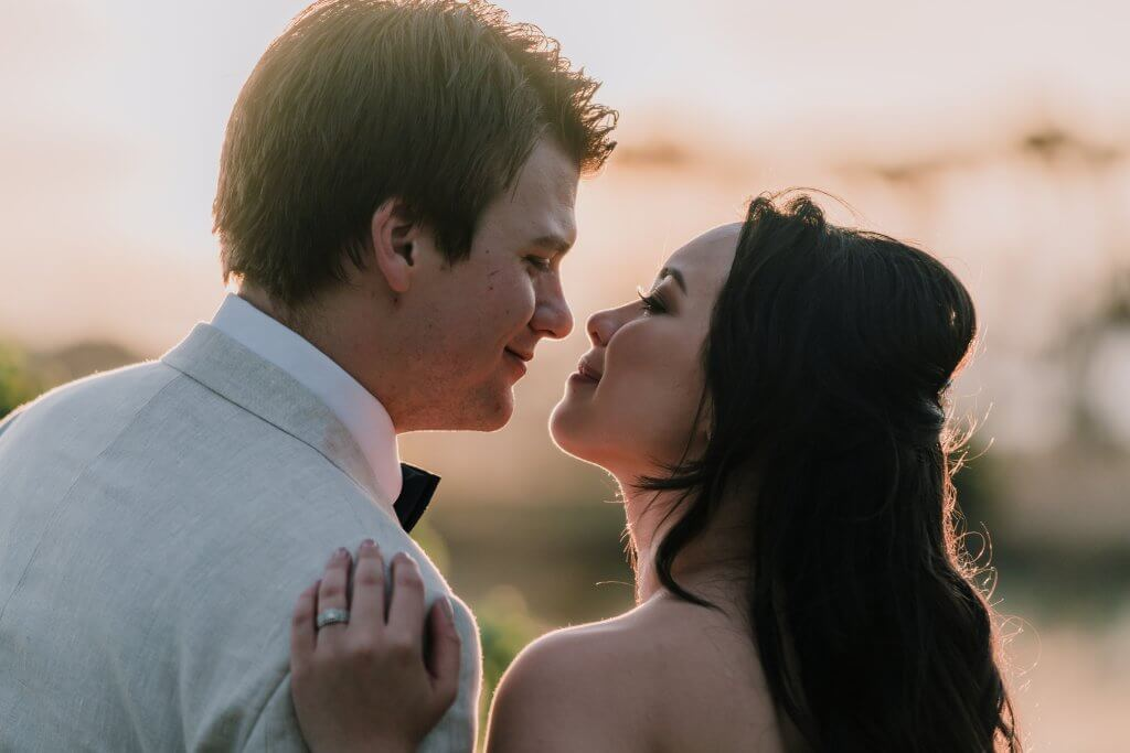 Married Couple post for rustic winery wedding photography in sunset hour