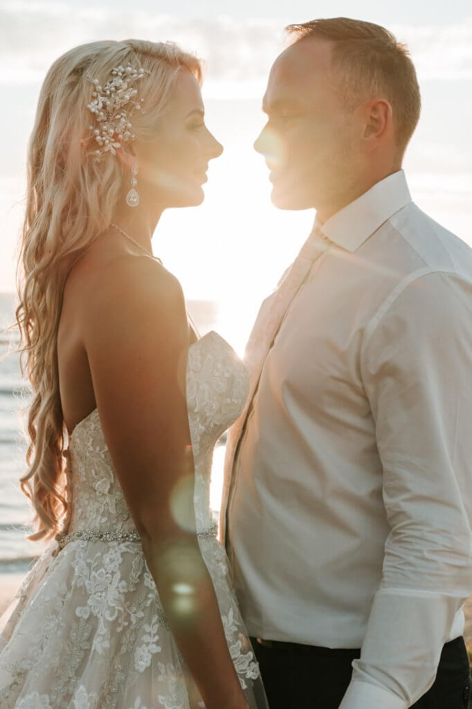 bride and groom golden hour wedding photography shot by Black Avenue Productions