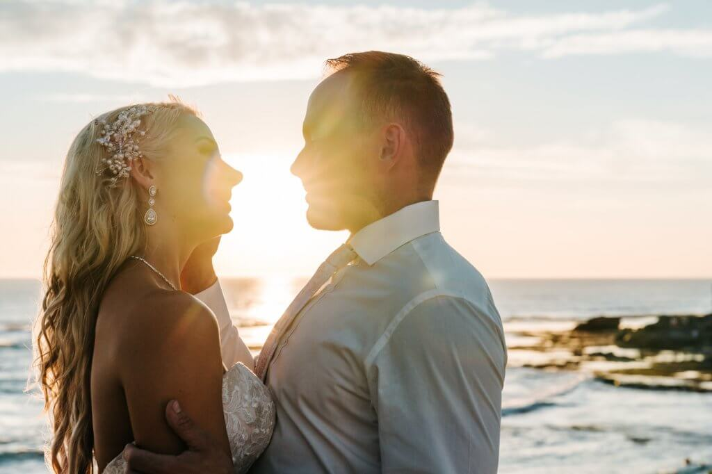 Jojo and Dan husband and wife sunset wedding photography by Black Avenue Productions during golden hour time