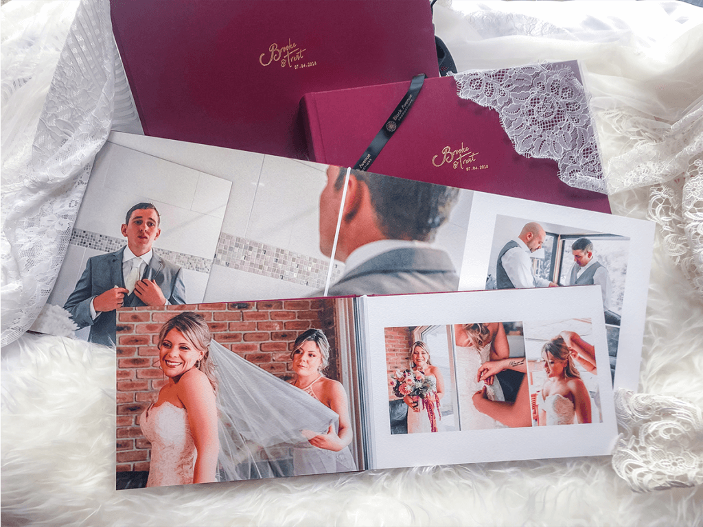 maroon professional printed wedidng album made by black avenue productions