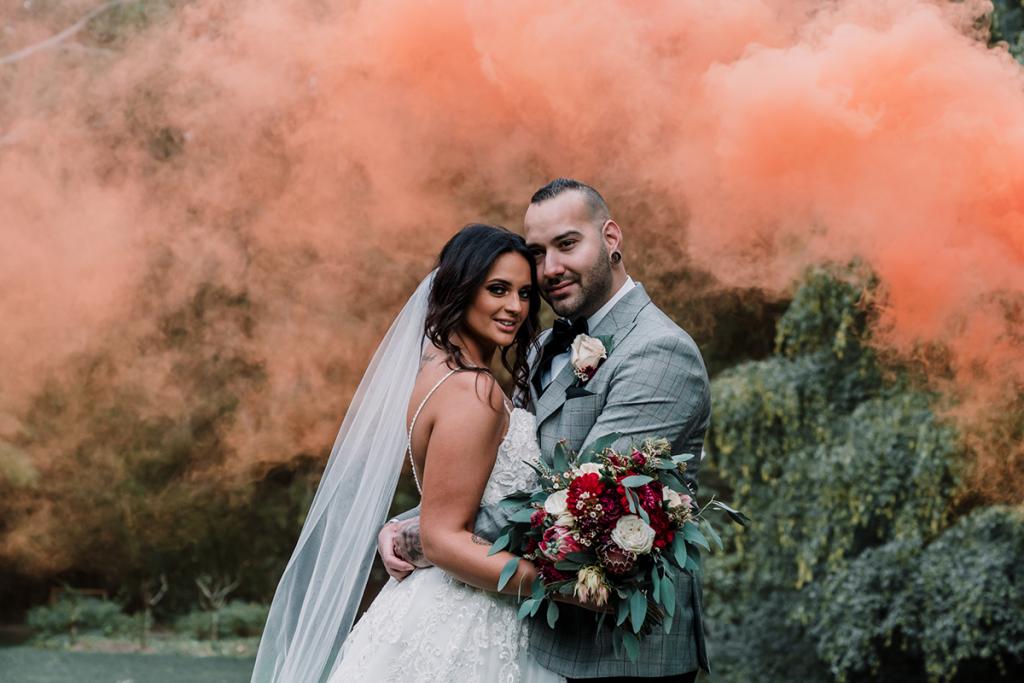 Coloured smoke bomb couple shots by black avenue productions