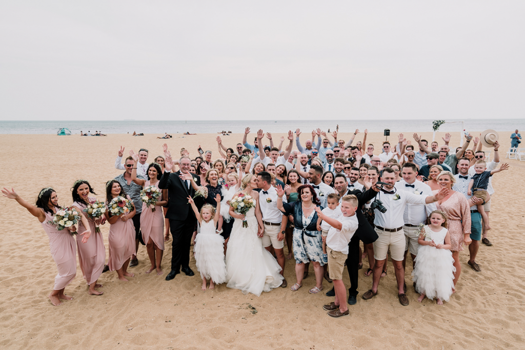 All Guests With The Couple shot beach wedding