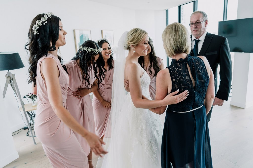First Look Wedding Tradition with bridesmaids and bride parents Black Avenue Productions