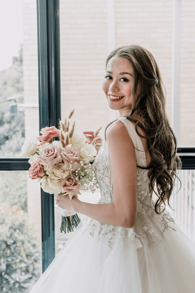 Beautiful asian bride in a magical melbourne city wedding shot by black avenue productions