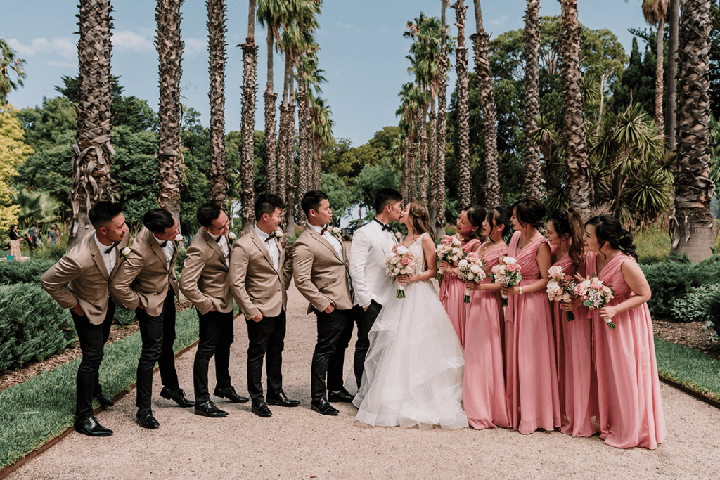 bridal session with bridesmaid and groomsmen