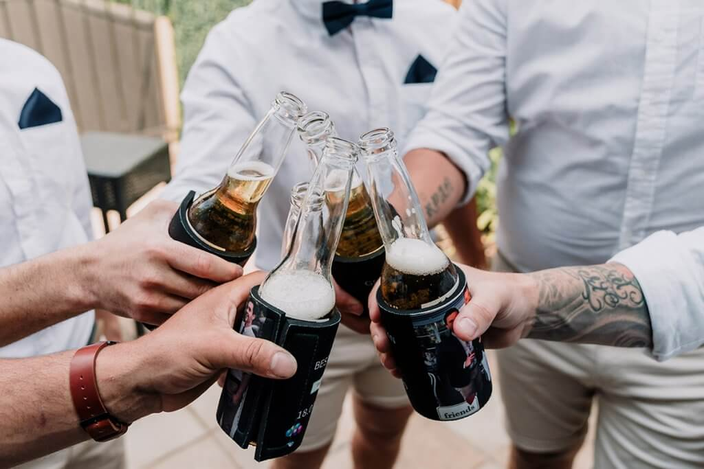 groomsmen cheers wearing Connor outfit at Brighton Savoy shot by Black Avenue Productions