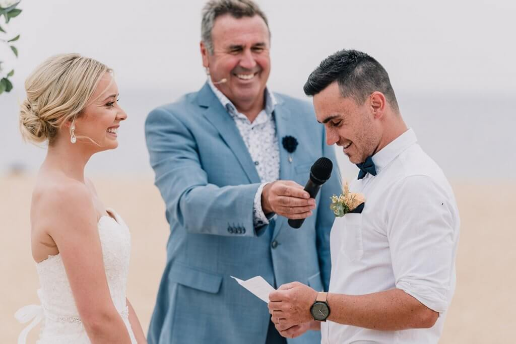 Celebrant Mike Larkan married the pair on the sands of Brighton Beach