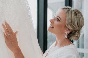 bride getting ready for wedding ceremony
