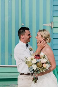 magical beach wedding in Brighton Savoy during golden hour shot by Black Avenue Productions