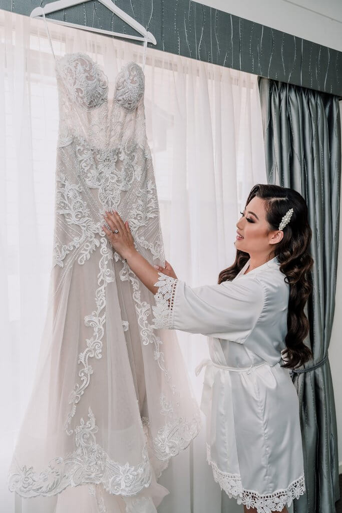 Bride with her beautiful white wedding gown