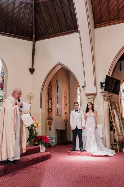 elegant church wedding in St Brigid's Catholic Church