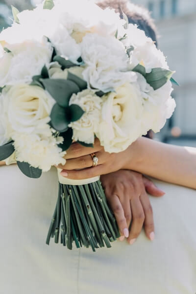 white rose bouquet, glamorous wedding ring