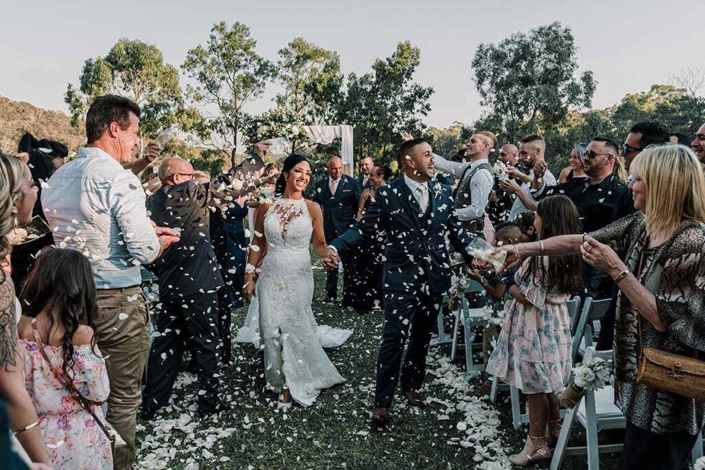 festive wedding celebration with confettis
