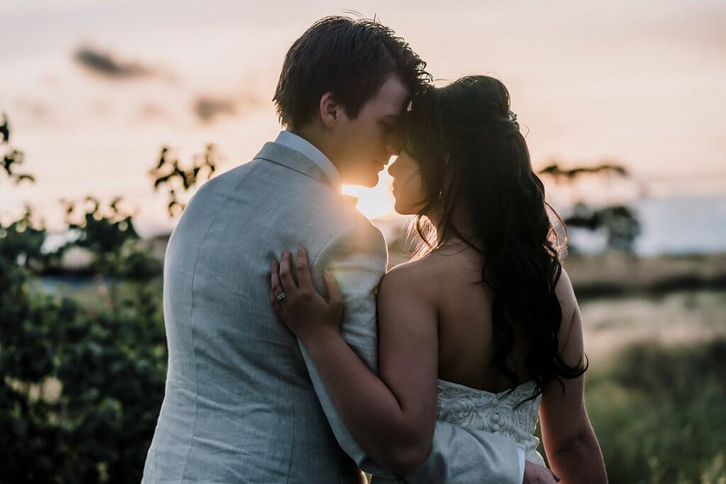 golden hour wedding shoot shot by professional wedding photographers in Melbourne Black Avenue Productions