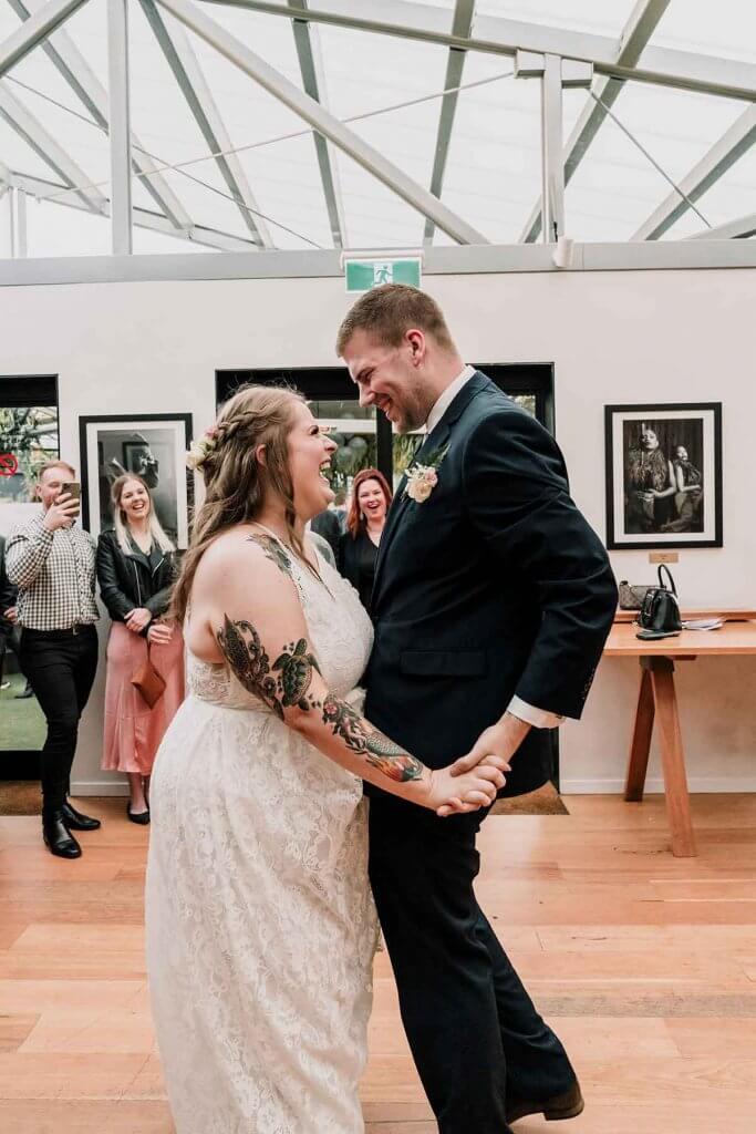 bride and groom fun enjoyable first dance