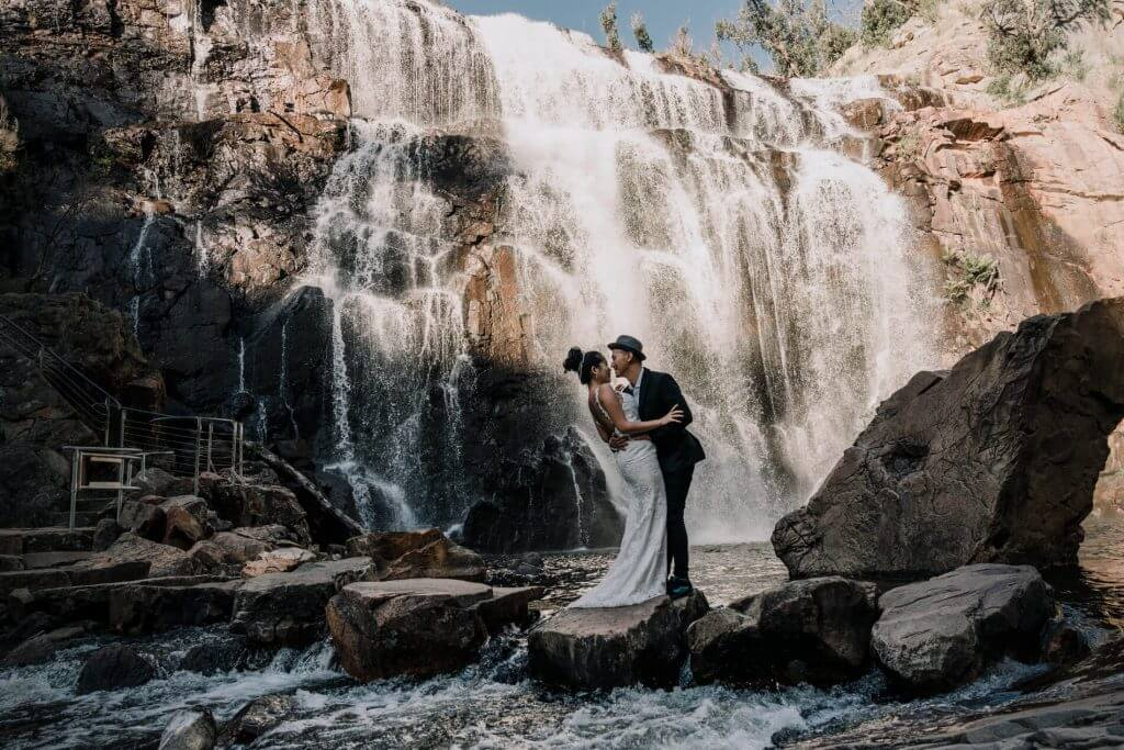 destinated wedding photo idea in The Grampians Australia waterfall wedding